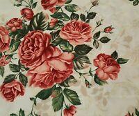 Cottage Charm BTY Helen Weinman Timeless Treasures Pink Rose Floral Ecru