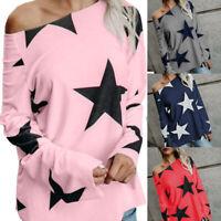 Women Tops Long Sleeve T-Shirts Off Shoulder Loose Stars Print Tunic Tee Shi IY