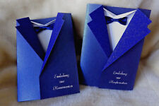 Einladungskarten Einladung zur Kommunion Konfirmation Sakko blau + Umschlag