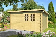 44 mm Gartenhaus 400x300 cm Gerätehaus Pultdach Blockhaus Holzhaus Holz Hütte