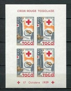 39145) TOGO 1959 MNH** RED CROSS  s/s IMPERFORATED 20fr + 5fr