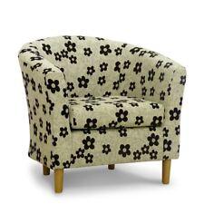 Tub Chair Bucket Seat Black Cream Floral Fabric Lounge Living Room Armchair