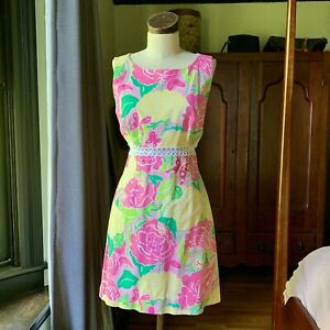 Vintage LILLY PULITZER Shift Dress ICONIC Crochet SIZE 8 Cotton RARE
