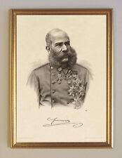 Franz Josef I. Kaiser von Österreich Sisis Mann K&K 28 Faksimile im Goldrahmen