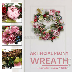 35cm Round Artificial Floral Flower Garland Door Hanging Wreath Home Party Decor