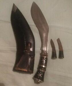 Vintage Gherkin Kukri Knife Set Old Case Three Knives India, Wood Handle