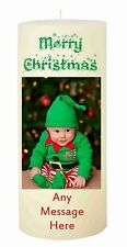 PERSONALISED MERRY CHRISTMAS PHOTO CANDLE with or without message