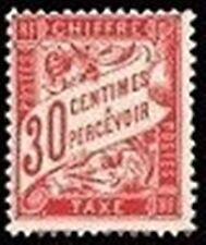 "FRANCE STAMP TIMBRE TAXE N° 33 "" TYPE DUVAL 30c ROUGE CARMINE "" NEUF xx TTB"