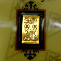 ACB GOLD 24K SOLID BULLION MINTED 5GRAIN BAR 99.99 FINE Au WITH CERTIFICATE !