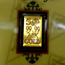 ACB GOLD 24K SOLID BULLION MINTED 5GRAIN BAR 99.99 FINE Au WITH CERTIFICATE +