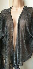 Bnwt (£19) Size 18 Black/Silver Sparkly Long Sleeve Shrug/Bolero By Apricot