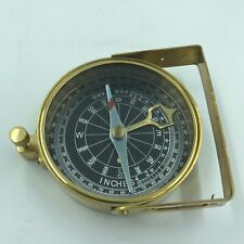 Nautical Decor Vintage Antique Brass Compass with Leather Case and Strap