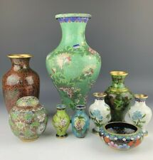 Collection of 9 Chinese Hand Painted Enamel Cloisonné Floral Vases Urns & Bowl