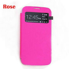 Rose Red Flip PU Leather CASE Cover Smart Wake View For SAMSUNG GALAXY