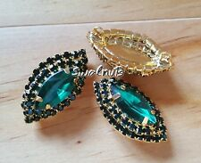2pcs Gold & GREEN Buttons Crystal Rhinestone Diamante Shank Sew on 2.4cm