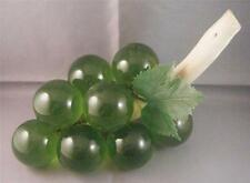 "Vintage Retro Mid Century Lucite Acrylic Green Grape Vine Cluster Wood Stem 8"""