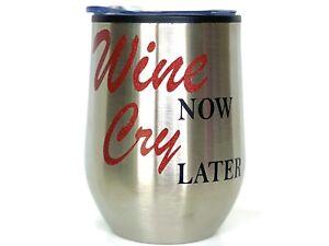 Custom 12oz Stemless Wine Tumbler/Coffee Travel Mug Glass Cup w/ Lid (Silver)