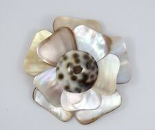 """NATURAL MOTHER of PEARL & SHELL STUNING FLOWER BROOCH ~2.5"""""""