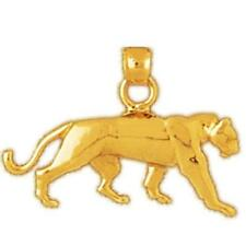 14k Yellow Gold PANTHER, BIG CAT Pendant / Charm, Made in USA