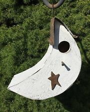 Amish Handmade Hanging Crescent Moon Wood Birdhouse with Rusty Tin Roof