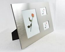 3 Panel Brushed Metal Photo Frame ~ Horizontal, Vertical, Wall, Desktop, #FR5152