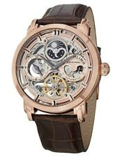 Stuhrling 371 Automatic Skeleton Dual Time Open Heart Rose Gold Tone Mens Watch