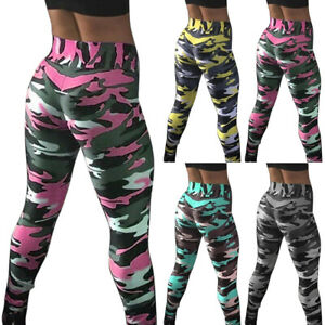 Damen Camouflage Leggings Hoch-Bund Fitness Sporthose Gym Yoga Leggins Laufhosen
