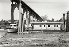 Fire Boat at St. Johns Bridge, Portland, Oregon - 1938 - Historic Photo Print