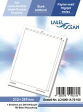 Klebeetiketten DIN A4 weiß 210x297mm (laser Inkjet Kopierer) 100 Blatt