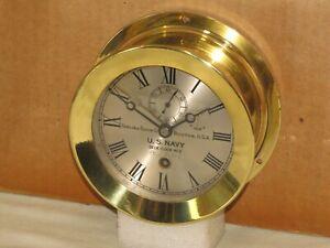 "CHELSEA ANTIQUE U.S.NAVY DECK CLOCK #2.~4 1/2"" DIAL~1918~WW1~RESTORED"