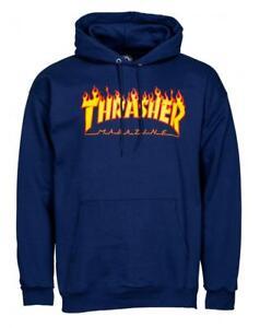 THRASHER Flame Logo - Skateboard Hoodie - Hooded Top / Hoody - Navy - XL