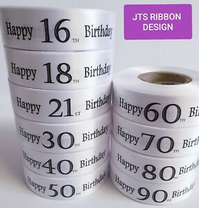 Birthday Ribbon Various Ages Celebration Cake Gift Wrap 5 Colours available