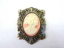Vintage CAMEO Pink and White Gold-tone Metal Embellishment - DIY Crafts