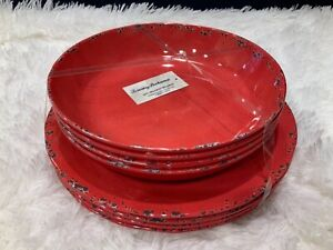 "NEW set 8 Tommy Bahama Melamine Red Crackle 4 Dinner Plates And 4 9"" Bowls Pasta"