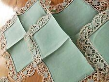 Linge ancien 6 Serviettes en lin vert avec dentelle ( 32 x 32 cms )