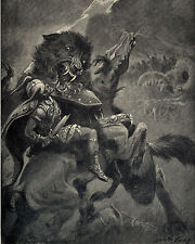 Viking God Odin On Horse Fights Myth Wolf Fenris Painting Real Canvas Art Print