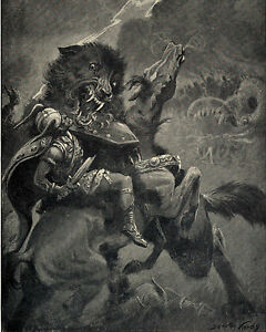 Viking God Odin On Horse Fights Myth Wolf Fenris Painting Real Canvas Art Print