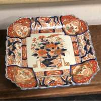 Beautiful Extremely Rare Old Imari gold color stained square plate From JAPAN