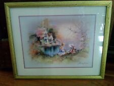 Framed Matted SIGNED  ANDRES ORPINAS Victorian Home Young Girl Scene Art Print