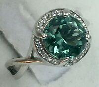 Vintage Original White Gold 585 14K Natural Green Quartz Ring, White Ring 585