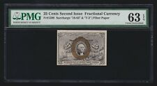Us 25c Fractional Currency Note Fiber Paper Fr 1290 18-63-T-2 Pmg 63 Epq Ch Cu