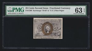 US 25c Fractional Currency Note Fiber Paper FR 1290 18-63-T-2 PMG 63 EPQ Ch CU