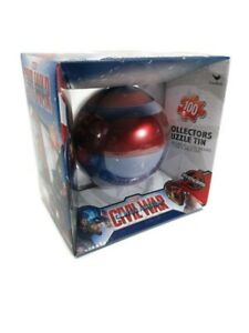100 Pc Puzzle Captain America Civil War Marvel Avengers Tin Shield Sphere NEW!