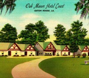Oak Manor Hotel Court Motel Baton Rouge Louisiana LA Vtg Linen Postcard UNP