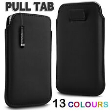 PREMIUM PU LEATHER PULL FLIP TAB CASE COVER & MINI STYLUS PEN FOR MOBILE PHONES