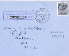 BR102 1985 ISLE OF MAN Attempted GB Machin Usage *STAMPS INVALID* Douglas Cover