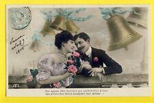 cpa Fantaisie 1906 ROMANTIC FRENCH POSTCARD Aux Appels des CLOCHES BELLS