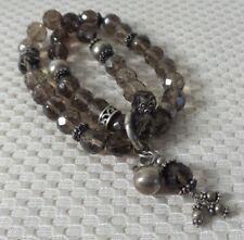 "Beautiful 925 Sterling Silver & Smokey Quartz Double Bracelet, 7"""