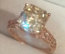 10K Solid Rose Gold Ring 2.85Ct Moissanite & Natural Diamonds in