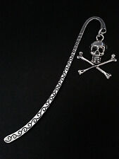 New Antique Silver Metal Bookmark with Skull & Crossbones Charm Accessory Gift